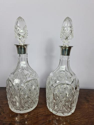 Pair of Silver Collared Decanters by Mappin & Webb (1 of 7)