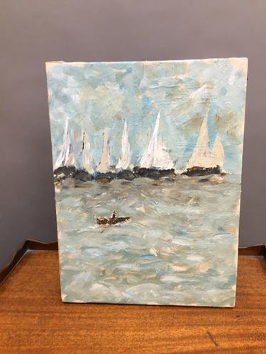 Oil on Canvas - Seascape with Boats (1 of 4)