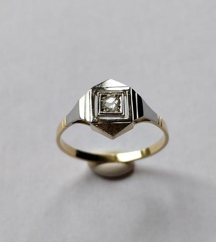 1920s Art Deco 18ct White Yellow Gold Diamond Ring (1 of 5)