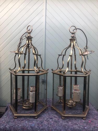 Pair English Glazed Brass Lanterns (1 of 9)