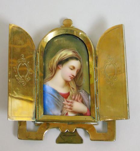 Antique Porcelain Plaque Portrait Miniature of the Madonna (1 of 6)