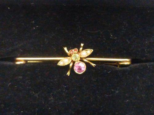 Edwardian 9ct Gold, Pink Tourmaline, Peridot and Pearl Brooch (1 of 5)