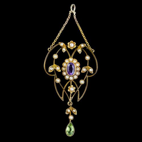 Antique Suffragette Floral Pendant Amethyst Peridot Pearl 9ct Gold Circa 1910 (1 of 6)