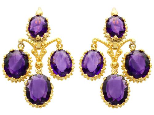 9.15ct Amethyst & 21ct Yellow Gold Chandelier Earrings - Antique c.1895 (1 of 9)