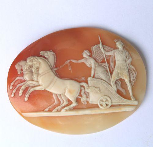Very Fine Unmounted Carved Shell Angel of Peace Cameo - 4 Horse Chariot 19th Century (1 of 6)