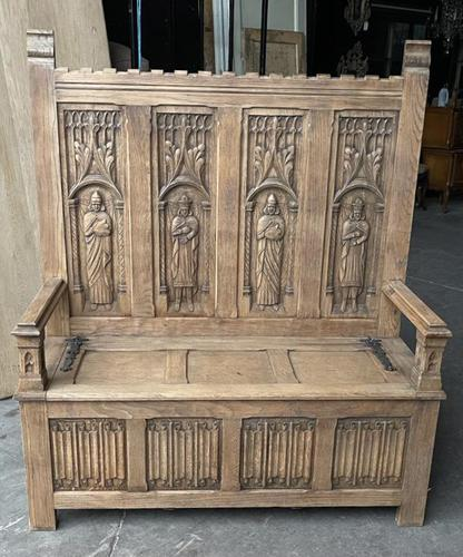 French Gothic Oak Hall Bench (1 of 8)
