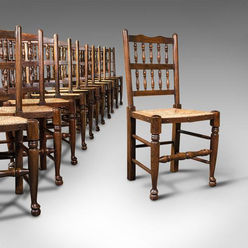 Set of 12, Antique Lancashire Chairs, Beech, Spindle Back, Seat, Edwardian, 1910 (1 of 12)