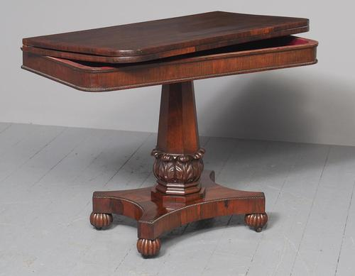 Antique William IV Rosewood Fold Over Tea Table (1 of 10)