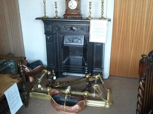 1894 Fireplace with Fire Dogs, Firetools, Copper Coal Scuttle (1 of 1)