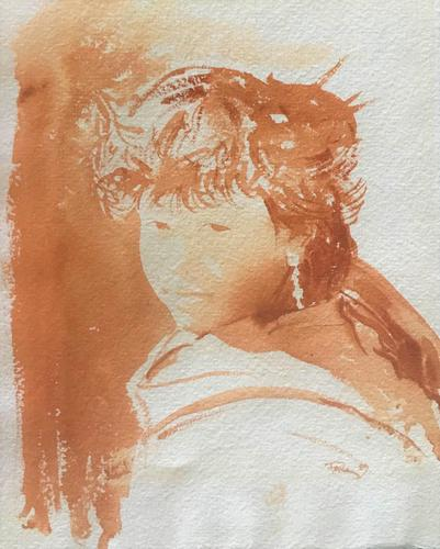 Original Sepia Watercolour 'Girl with long silver earrings, Kathmandu' by Rob Fairley. Signed & Dated 1989 (1 of 3)