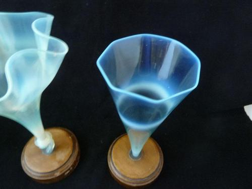 2 Early James Powell Opalescent / Vaseline Glass  Vases - Mounted on Stands (1 of 4)