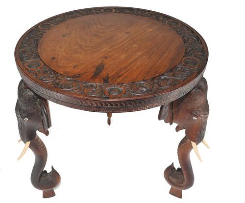 Carved Burmese Table Elephant Legs Antique Burma Furniture (1 of 10)