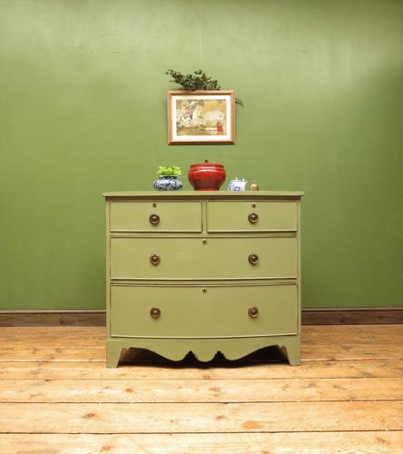 Antique Green Bow Fronted Chest of Drawers, Shabby Chic (1 of 18)