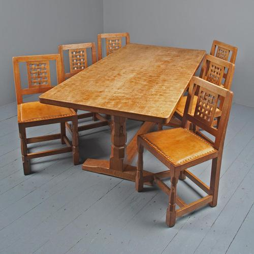 Mouseman Oak Dining Table & Set of 6 Chairs (1 of 20)