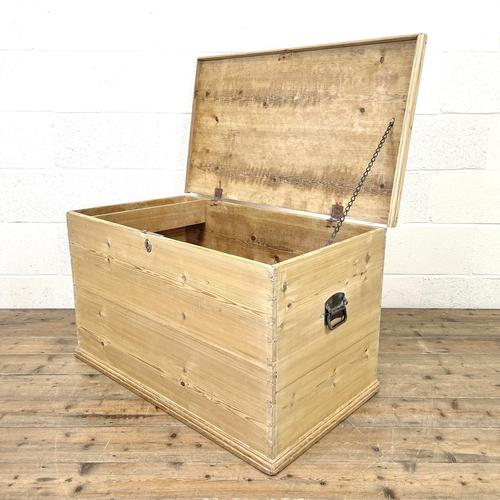 Antique Pine Trunk or Storage Chest (1 of 10)