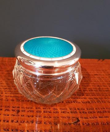 Antique Silver & Turquoise Enamel Dressing Table Jar (1 of 5)