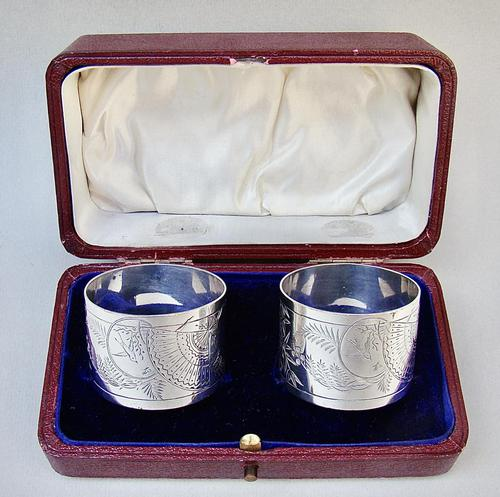 Fabulous Cased Pair of Victorian Silver Aesthetic Movement Napkin Ring by George Adams, London 1881 (1 of 7)
