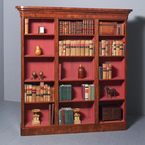 Antique Victorian Mahogany Tall Open Bookcase (1 of 7)