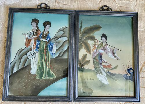 Pair of Chinese Reverse Glass Painting c.1920 (1 of 9)