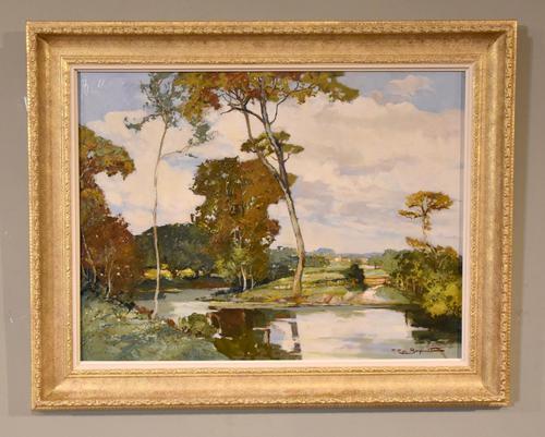 """Oil Painting by Francesco Pablo de Besperato """"A River Landscape"""" (1 of 6)"""