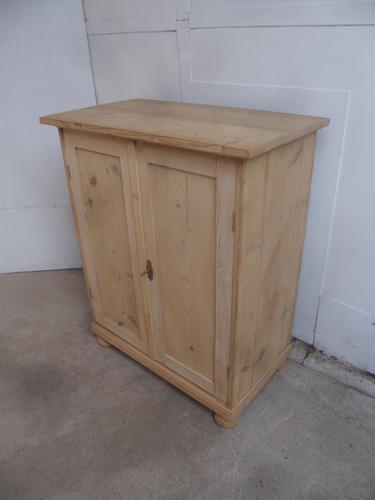 Victorian Small Antique Pine 2 Door 2 Drawer Storage Cupboard to wax / paint (1 of 11)
