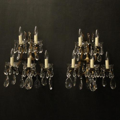 French Pair of Bronze & Crystal 5 Arm Antique Wall Lights (1 of 10)