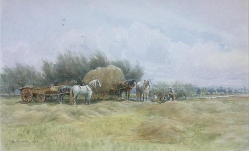 Arthur Meyrick Watercolour - Harvest Time (1 of 2)