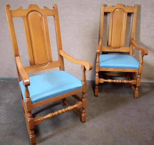 Pair of Oak Reproduction High Back Armchairs (1 of 11)