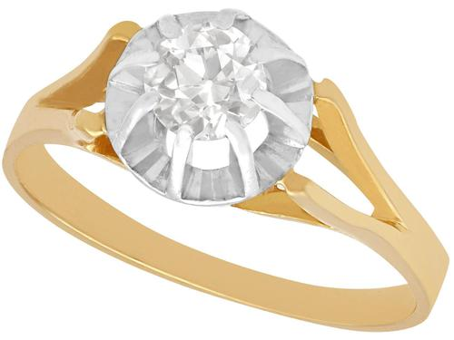 0.49ct Diamond 7 18ct Yellow Gold Solitaire Ring - Vintage French c.1940 (1 of 9)