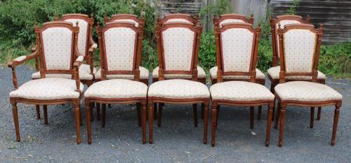 1960 Set of 10 Mahogany Dining Chairs. 8+2 Carvers. Neutral Upholstery (1 of 4)