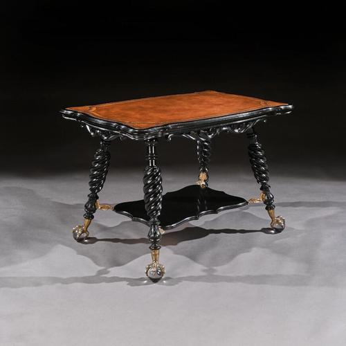 Merklen Bros 19th Century Ebonised Leather Table (1 of 6)