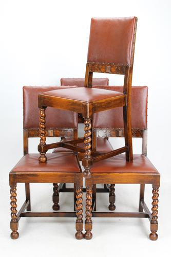 Set of 4 1920s Oak Dining Chairs (1 of 13)