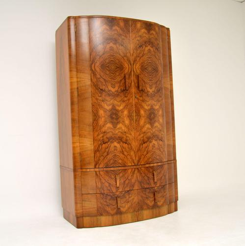 1930's Art Deco Figured Walnut Wardrobe (1 of 12)