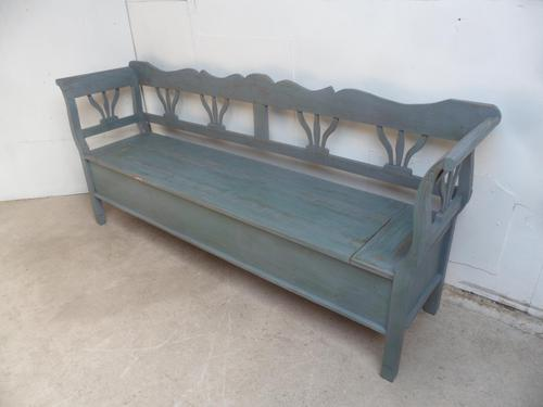 Lovely Grey / Green 3-4 Seater Antique Pine Kitchen / Hall Box Settle/ Bench (1 of 11)