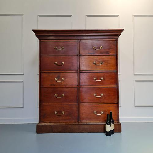 Large Antique Bank of Mahogany Drawers c.1880 (1 of 8)