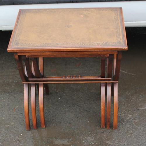 1960s Nest of 3 Mahogany Tables with Brown Leather Tops (1 of 6)