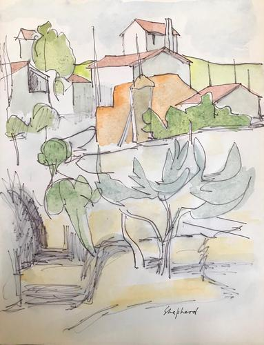 Original Watercolour 'Tuscan village' by Toby Horne Shepherd 1909-1993. Signed. c.1965 (1 of 1)