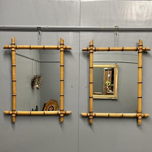 Pair of Mid Size French Faux Bamboo Mirrors (1 of 3)