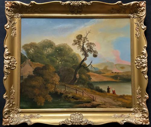 Large Stunning 19thc Arcadian Landscape Oil Painting in the 18th Century manner (1 of 13)