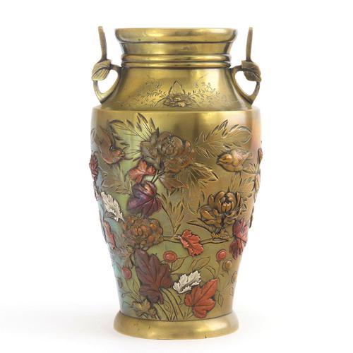 Japanese Meiji Period Large Bronze & Mixed Metal Vase c.1885 (1 of 11)