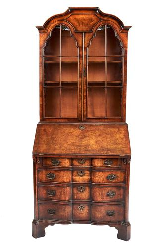 Quality Queen Anne Revival Walnut Bureau Bookcase C.1920 (1 of 6)