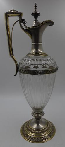 Antique Silver Parcel Gilt Claret Jug. 800 Standard c.1880 (1 of 9)