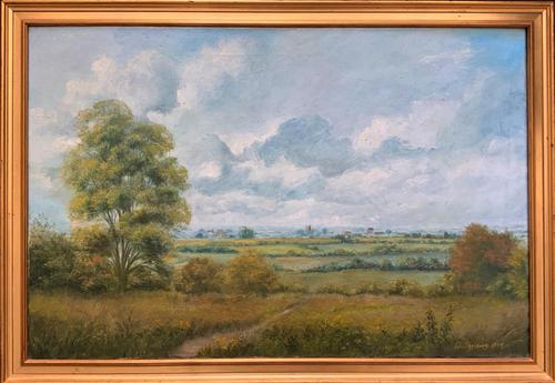 Original 20th Century Vintage English Farmland Country Landscape Oil on Canvas Painting (1 of 14)