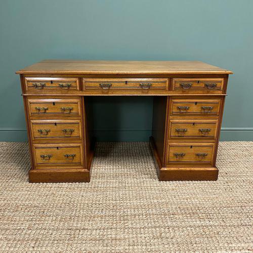 Victorian Walnut Antique Pedestal Desk (1 of 8)