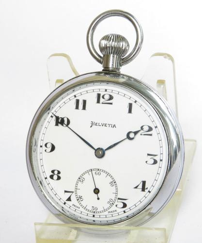 1930s Helvetia Pocket Watch in Super Condition (1 of 5)