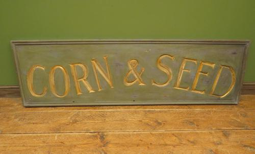 Large Antique Wooden Corn & Seed Sign, Decorative Shop Sign (1 of 13)