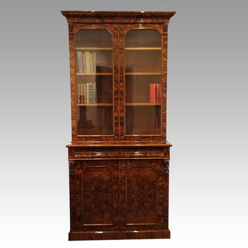 Victorian Burr Walnut Library Bookcase (1 of 11)