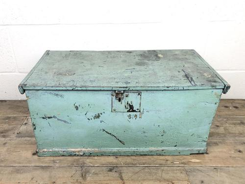 Antique Green Painted Wooden Trunk or Box (1 of 10)