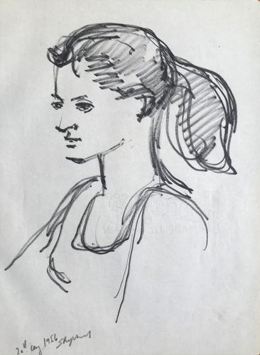 Original Marker Pen  Drawing 'Portrait of a Girl, Perugia August 1956' by Toby Horne Shepherd - Signed (1 of 1)