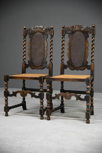 Pair of Oak Cane Hall Chairs (1 of 11)